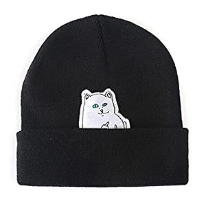 Xeno-Popular Knitted Hat Cartoon Cat Patch Beanies Skullies Middle Finger Despise(Black)