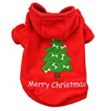Freerun Pet Dog Cat Clothes Merry Tree Pattern Cotton Hoodie Costume Outwear Coat - XS