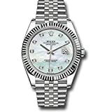 Watches : ROLEX DATEJUST 41 STEEL AND WHITE GOLD MOTHER OF PEARL DIAMOND DIAL JUBILEE BRACELET 41MM