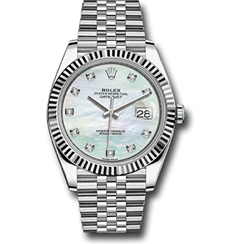 ROLEX DATEJUST 41 STEEL AND WHITE GOLD MOTHER OF PEARL DIAMOND DIAL JUBILEE BRACELET 41MM