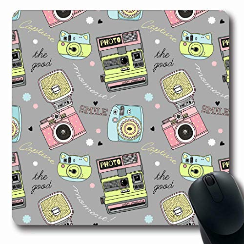 (Ahawoso Mousepads for Computers Camera Hipster Cute Doodle Pattern Directional Child Detailed Drawn Good Graphic Design Oblong Shape 7.9 x 9.5 Inches Non-Slip Oblong Gaming Mouse Pad)