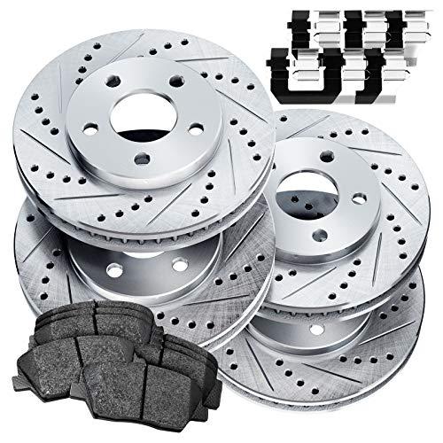 Fit Volkswagen Bora, Jetta Front Rear Drill Slot Brake Rotors Kit+Ceramic Brake Pad