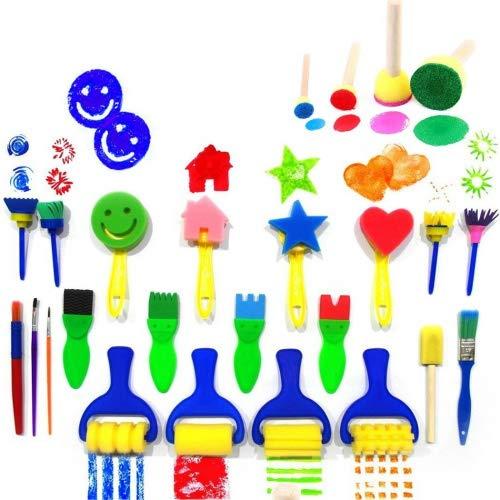 Niños Arte y Manualidades Pintura Herramientas de dibujo Mini juego de cepillo para polvo para polvo de esponja de flores...