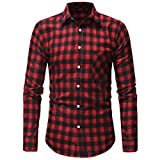 Gocheaper Men's Plaid Blouse Autumn Button Shirt Long Sleeved Pullover Fastener Sweatshirts Top (M, Red)