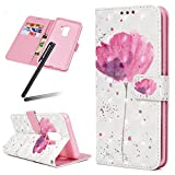 S9 (2018) Case,Samsung Galaxy S9 Wallet Case,Galaxy S9 Kickstand Case,SKYMARS PU Leather Shock Absorbing Bumper 3D Art Painting Kickstand Cards Slot Wallet Magnet Stand Flip Folio Cover Case for Samsung Galaxy S9 (2018) A Pink Flower