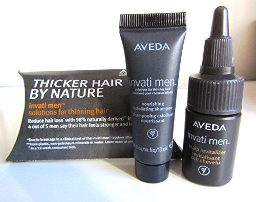 Aveda Invati Men, Set of 2 Sample Sizes, .34 Oz Nourishing Exfoliating Shampoo and .34 Ounce Scalp Revitalizer, Sample Sizes