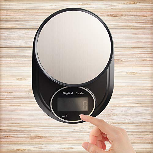 Erkovia Digital Food Kitchen Scale, Multifunctional Weight Measuring for Cooking and Baking in Grams/Ounces, Auto Shut-Off, Black (Batteries Included)