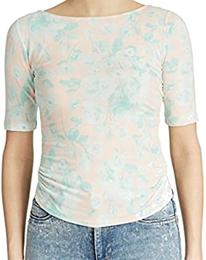Guess Blue Women Large Floral Print Tulip Back Blouse Pink L