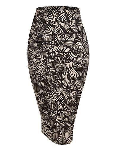 WB1304 Womens Print Midi Pencil Skirt XXL Sharp_Taupe