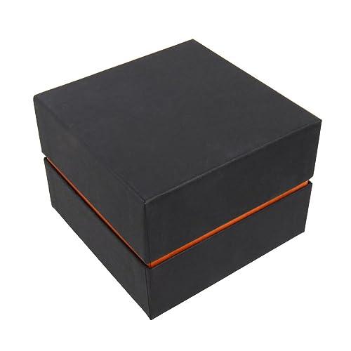Schmuckboerse24 Cadena de Cartón Joyas Estuches para Joyería. Relojes Caja para Relojes de Pulsera Pulseras Joyas Regalo Negro Naranja 10 x 10 x 7 cm: ...