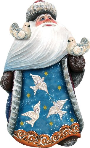 G. Debrekht Girl with Bird Family Hand-Painted Wood Carving