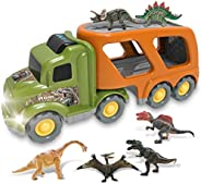 Jiffi Dinosaur Truck Set, Tyrannosaurus Toy, Friction Powered Car Carrier Trailer with Sound and Light, Cars T