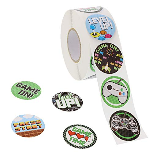 Blue Panda Kids Stickers (1 Roll) 1000 Count, 1.5 Inch, Video Games