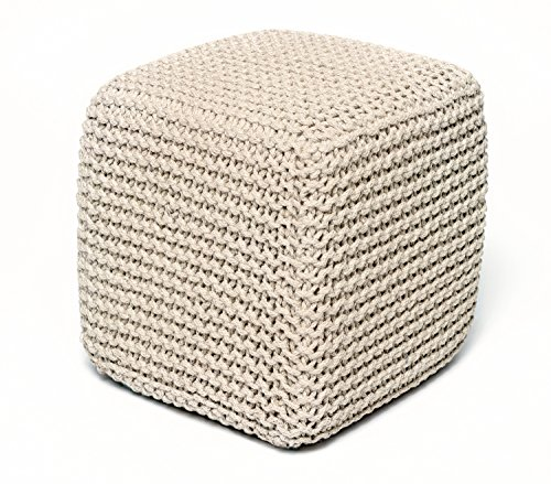 Anji Mountain AMB0007-1818 Square Jute Pouf, Ivory, 18 x 18-Inch by Anji Mountain