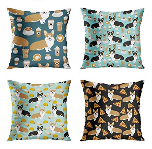 ArtSocket Set of 4 Throw Pillow Covers Best Corgis and Coffees Cute Tricolored Tri Corgi Coffee Blue Pattern Tacos Decorative Pillow Cases Home Decor Square 18x18 Inches Pillowcases