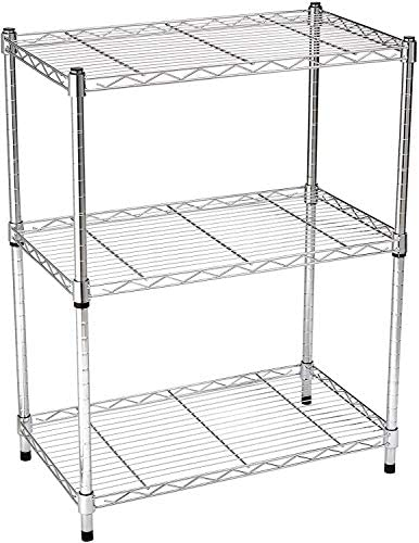 Amazon Basics 3-Shelf Adjustable, Heavy Duty Storage Shelving Unit (250 lbs loading capability in line with shelf), Steel Organizer Wire Rack, Chrome (23.3L x 13.4W x 30H)