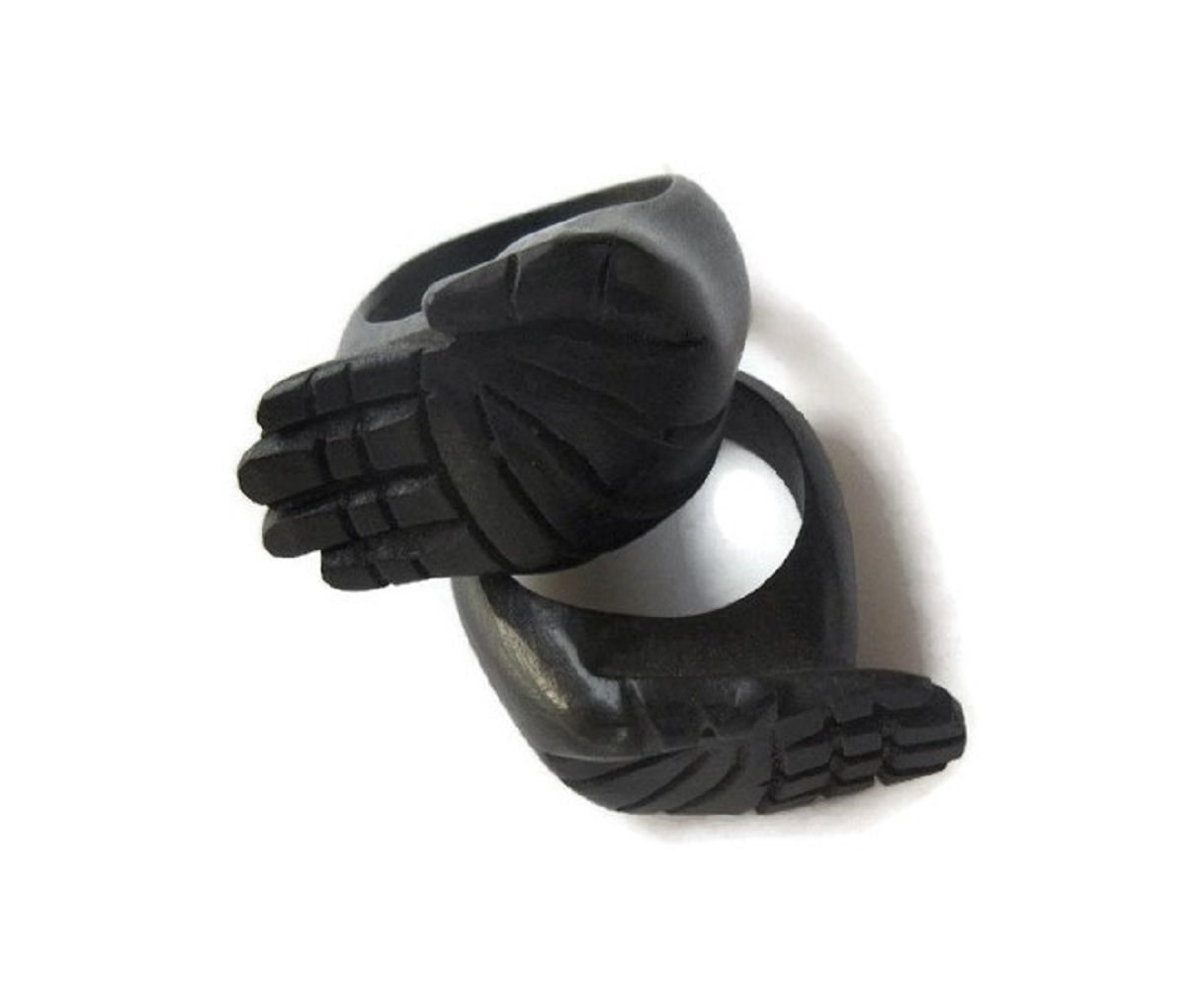 Hamsa Hand Ebony Wood Hand Carved Ring, Handmade Wooden Ring, Hamsa hand Finger Rings, GDS1043/20 (100 Pieces)
