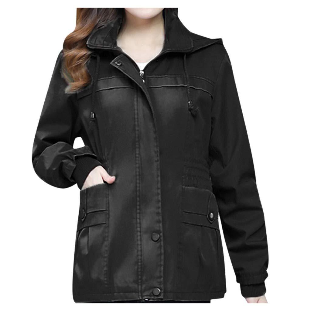 Fashionhe Women's Winter Jacket Solid Color Outwear Long-Sleeved Windshield Coat Cardigan Overwear(Black.XXL) by Fashionhe