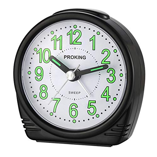 Alarm Clock,Silent No-Ticking Bedside Analog Alarm Clock,Small Lightweight Travel Quartz Alarm Clock,with Snooze and Light,Large Digital Dial Easy to Set,Battery Operated,Best for Elder/Kids (Black) (Fluorescent Alarm Clock)