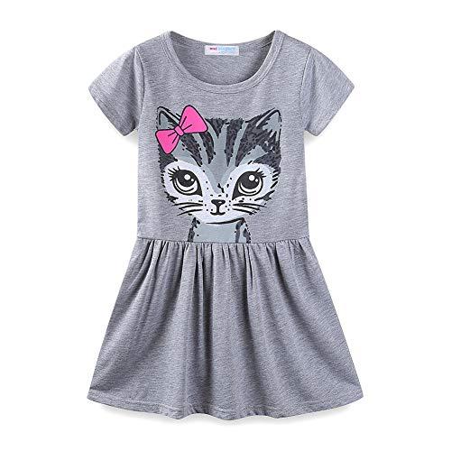 LittleSpring Summer Cat Dresses for Girls Short Sleeve Grey Size 5