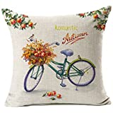 "Fall Bicycle Throw Pillow Case Cushion Cover Decorative 18"" x 18""(Romantic Autumn)"