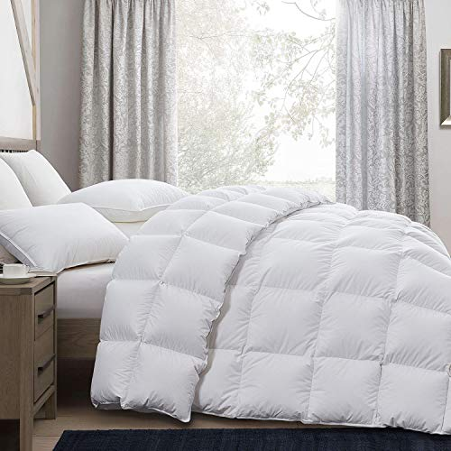 Luxurious Goose Down Comforter King Size Duvet Insert, All Season, White Solid, 750+ Fill Power , 50 oz Fill Weight, 1200 Thread Count 100% Cotton Shell with 8 Tabs, Hypo-allergenic ( King,White )
