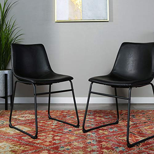 """Walker Edison Furniture Company 18"""" Industrial Faux Leather Armless Indoor Kitchen Dining Chair with Metal Legs Upholstered, Set of 2, Black"""