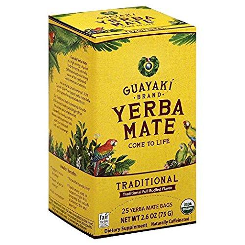 Guayaki Yerba Mate Organic Tea, 25-Count, 2.6oz (2 Pack) WECB