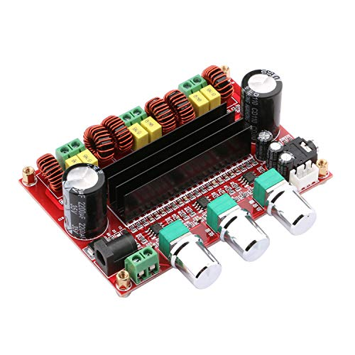 (Audio Amplifier Board, Yeeco 2.1 Channel 2x80W+100W Digital Power Amplifier Board DC 12-26V 15V 19V 24V Car Audio Stereo AMP Module with Volume Knob 3.5MM Audio Input Dual Power Supply Input)