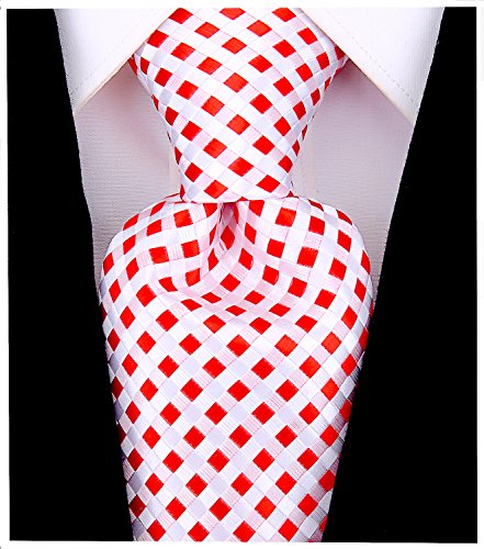 Checkerboard Ties for Men - Woven Necktie - Red ()