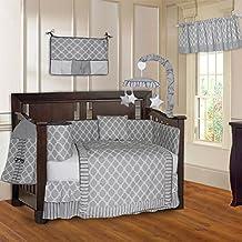 BabyFad Quatrefoil Clover Grey 10 Piece Baby Crib Bedding Set