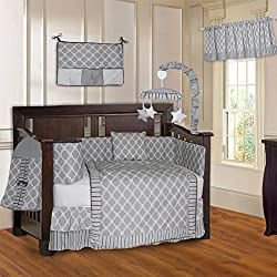 BabyFad Quatrefoil Clover Gray 10 Piece Baby Boy's Crib Bedding Set