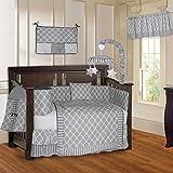 BabyFad Quatrefoil Clover Gray 10 Piece Baby Crib Bedding Set