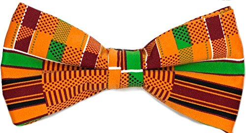 Men's Microfiber Kente African Print Self tie Bow Tie & Pocket Square Hankie Gift Set
