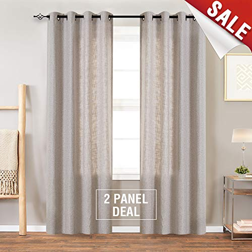 Beige Linen Textured Curtains for Living Room 84 Inches Long Flax Light Filtering Burlap Window Curtains for Bedroom Drapes Double Width ()