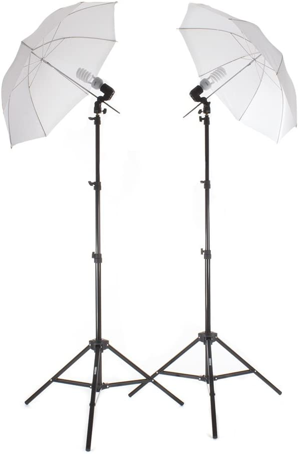 StudioPRO 450W Photography Studio Continuous Lighting Two Light Translucent Umbrella Kit with Two 45W CFL Bulbs