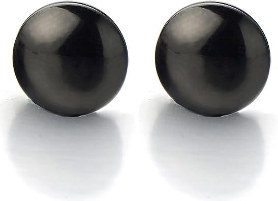 Noir magnétique non Piercing Clip On Faux Bouchons d/'Oreille Clous D/'Oreilles Pour Hommes Femmes