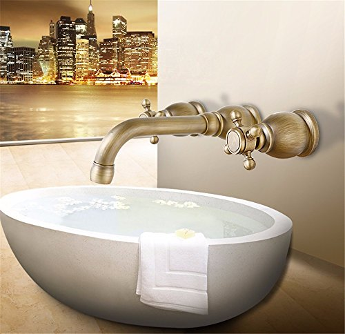 Bathroom Sink Faucet Antique brass wall-mounteddouble handles Three holes ceramic valvehot and cold mix rotatable bathroom basin mixer ()