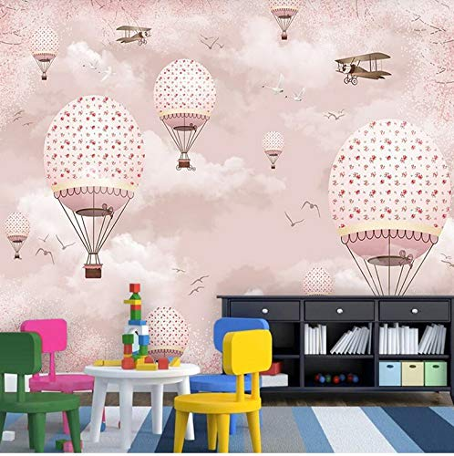 Mznm Custom Wallpaer Children's Room Pink Girl Heart Cartoon Hot Air Balloon Wall Custom Large Mural Green Wallpaer Mural-150X120Cm