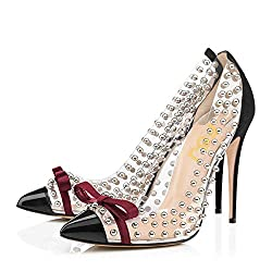 Studded Pointed Toe Transparent High Heels Shoes