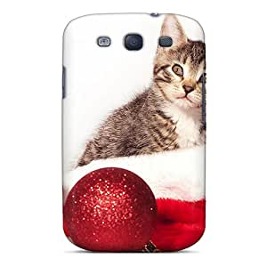 Durable Protector Case Cover With A Kitten Sitting In A Santa Hat Hot Design For Galaxy S3