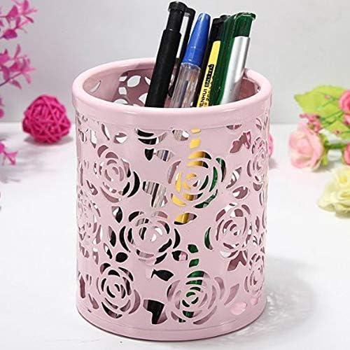 Color Rosa Multiusos para decoraci/ón del hogar DDG EDMMS Redondo Portal/ápices dise/ño de Rosas Oficina Organizador de Escritorio Hueco
