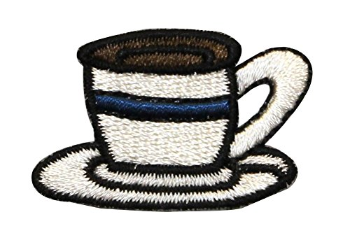 ID 1271 Coffee Cup On Plate Patch Fancy Tea Drink Embroidered Iron On -