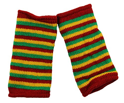 RW Hand Knit 100% Wool Fleece Lined Hand Warmer Rasta Glove