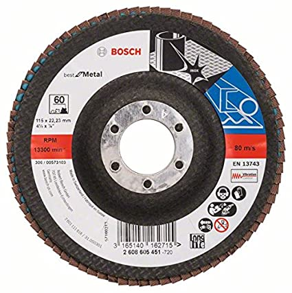 Bosch 2608605452 Flap disc X571, Best for Metal 115 mm, 22.23 mm, 80, Black/Brown