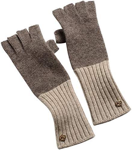 BTXXYJP ニットカシミヤ手袋は暖かい指なしの長い女性柔らかい手袋を保ちます (Color : Tea, Size : One Size)