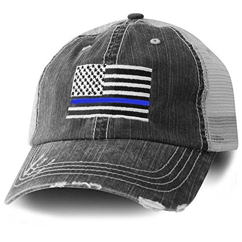 American Flag Trucker Hat With Police Thin Blue Line ()