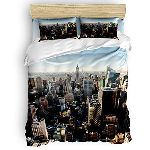Libaoge Bedding Duvet Cover 4 Piece Set Full Size, New York Skyscraper Manhattan Skyline Cityscape Comforter Cover with Corner Ties/Flat Sheet/Pillowcases for Men Women Adults Teen Kids