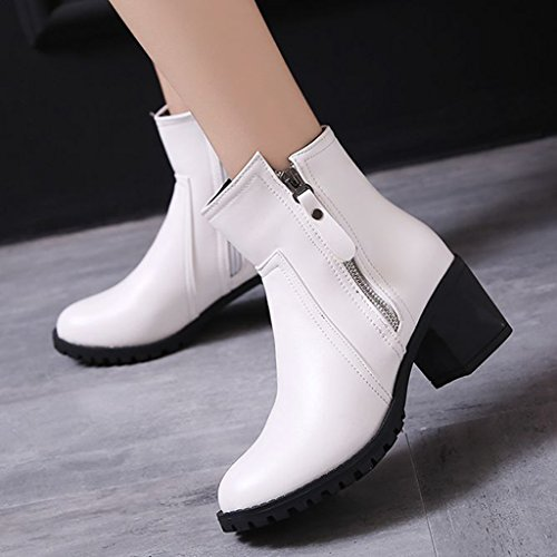 DecoStain Women's Mature Block Heel Zip Platform Ankle Boots 6cm White 5TevLSUHtV