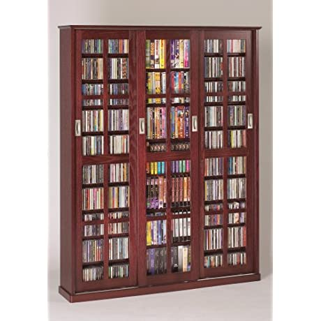 Leslie Dame MS 1050DC Mission Style Multimedia Storage Cabinet With Sliding Glass Doors Cherry